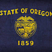 Oregon State Flag Art On Worn Canvas Poster