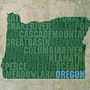Oregon Word Art State Map On Canvas Poster