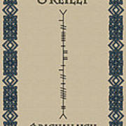 O'reilly Written In Ogham Poster