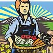 Organic Farmer Farm Produce Harvest Retro Poster by Aloysius Patrimonio