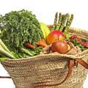Organic Fruit And Vegetables In Shopping Bag Poster