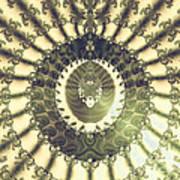 Oriental Sun Abstract Art Poster