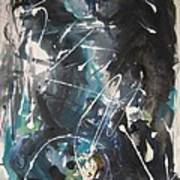 original abstract blue and black painting for sale-Blue Valley Poster