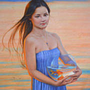 Original Classic Oil Painting Girl Art- Chinese Beautiful Girl And Goldfish Poster