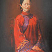 Original Classic Portrait Oil Painting Woman Art - Beautiful Chinese Bride Girl Poster