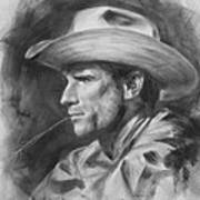 Original Drawing Sketch Charcoal Chalk  Gay Man Portrait Of Cowboy Art Pencil On Paper By Hongtao  Poster