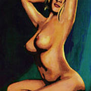 Original Fine Art Female Nude Painting Seated 7c Mods1c Poster