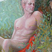 Original Impression Oil Painting Man Body Art Male Nude#16-2-5-50 Poster