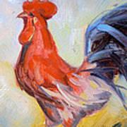 Original Animal Oil Painting - Big Cock#16-2-5-29 Poster