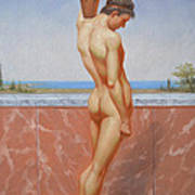 Original Oil Painting Man Body Art Male Nude On Canvas#16-2-5-13 Poster