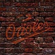 Orioles Baseball Graffiti On Brick  Poster