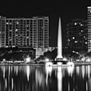 Orlando Black And White Night Poster