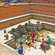 Ornate Fountains With Holy Water From The Bagmati River In Patan Durbar Square In Lalitpur-nepal   Poster