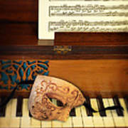 Ornate Mask On Piano Keys Poster