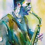 Ornette Coleman - Watercolor Portrait Poster