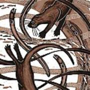 Otter With Eel, 2013 Woodcut Poster