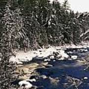 Ouareau River And Snow Covered Poster