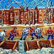 Outdoor Hockey Rink Winter Landscape Canadian Art Montreal Scenes Carole Spandau Poster