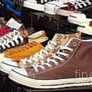 Outdoor Vendor Sells Canvas Shoes Poster