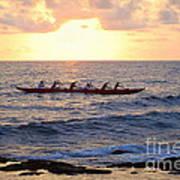 Outrigger Canoe At Sunset In Kailua Kona Poster