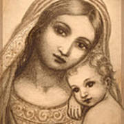 Oval Madonna Drawing Poster