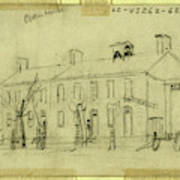 Owen House, 1860-1865, Drawing On Cream Paper Pencil Poster