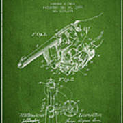 Owen Revolver Patent Drawing From 1899- Green Poster