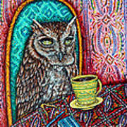 Owl At The Cafe Poster by Jay  Schmetz
