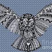 Owl In Flight Bubbles Poster