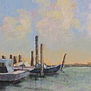 Oyster Boat Evening Poster