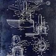 Packard Hood Ornament Blue Poster
