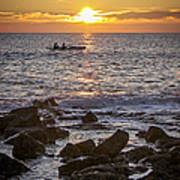 Paddlers At Sunset Portrait Poster