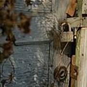 padlocked old wood door abandoned Streetman Texas Poster