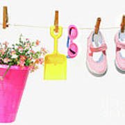Pail And Shoes On White Poster by Sandra Cunningham