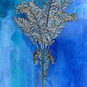 Painted Blue Palm Poster