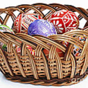 painted Easter Eggs in wicker basket Poster