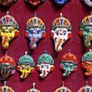 Painted Elephant Souvenirs In Kathmandu Poster