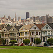 Painted Ladies Row Houses And San Francisco Skyline Poster