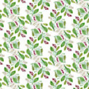 Painted Nature Coorsinating Foliage Leaves Pattern Poster
