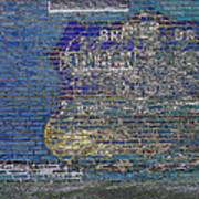Painted Sign On A Brick Wall Poster
