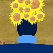 Painted Sunflowers Poster