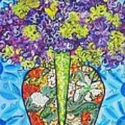Painted Vase With Hydrangeas Poster by Deborah Glasgow