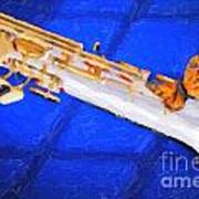 Painting Of A Soprano Saxophone And Butterfly 3352.02 Poster