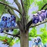 Painting Of Owls And Birds Nest In Tree Poster