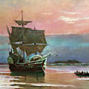 Painting Of The Ship The Mayflower 1620 Poster