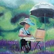 Painting The Lavender Fields Poster