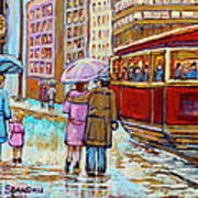 Paintings Of Fifties Montreal-downtown Streetcar-vintage Montreal Scene Poster
