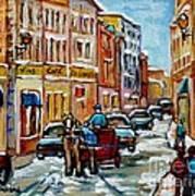 Paintings Of Old Port Quebec Vieux Montreal Memories Rue Notre Dame Snowscenes Art Carole Spandau Poster