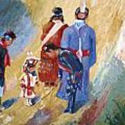 Paiute Children Dressed For The Powwow Poster