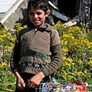 Pakistani Boy In Front Of Hotel Ruins In Swat Valley Poster